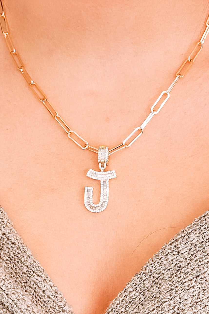 Crystal Initial Link Necklace