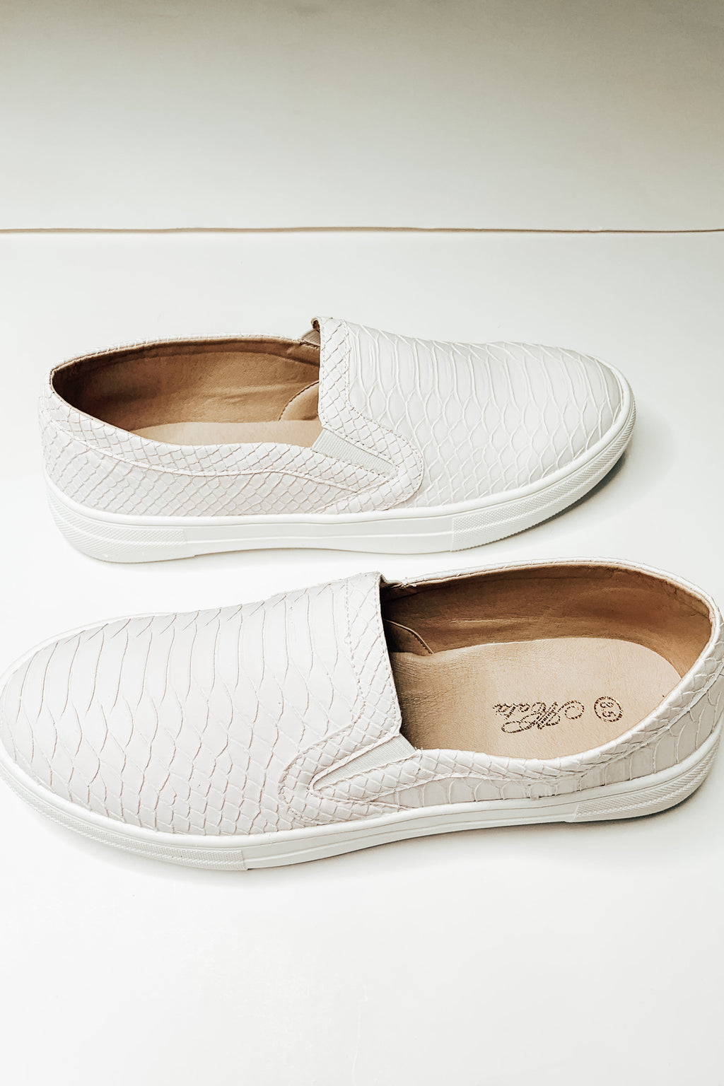 White Croc Slip On Sneakers
