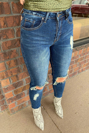 Destroyed Knee Vintage Denim Skinnies