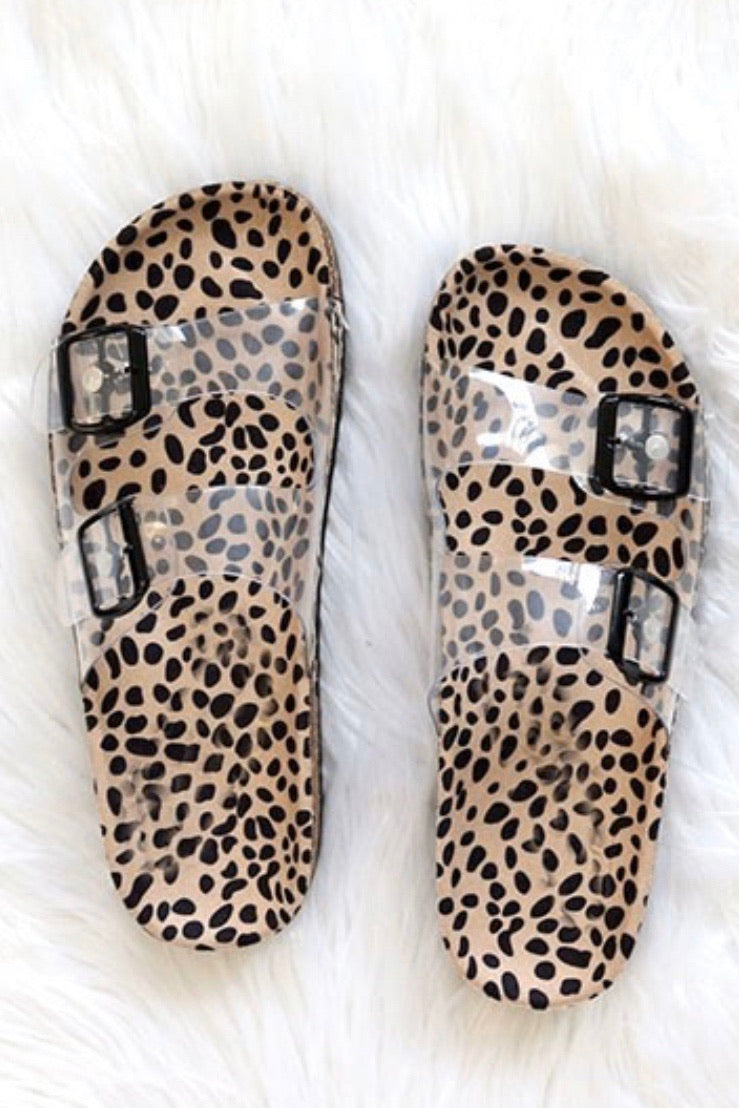 Cheetah Clear Sandals