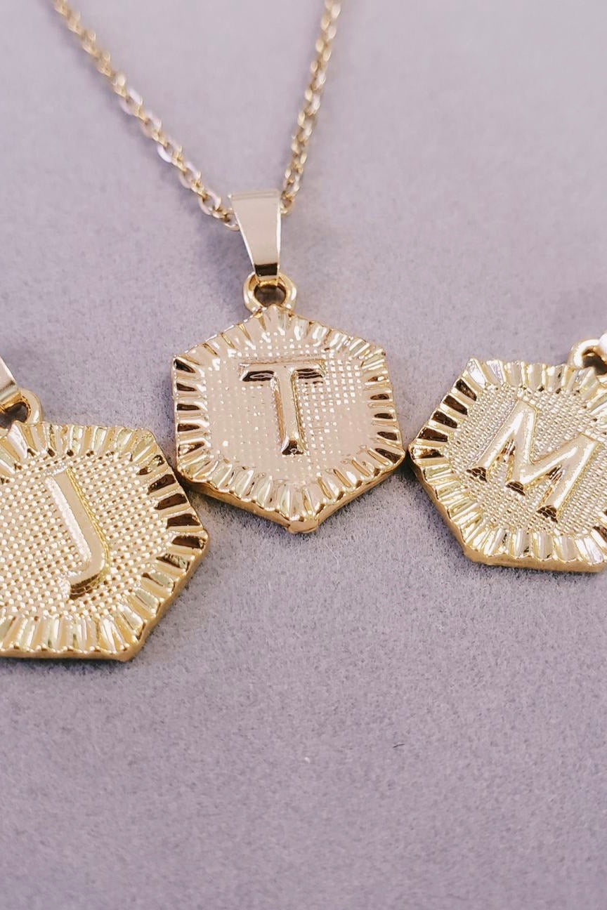 Hexagon Initial Necklace