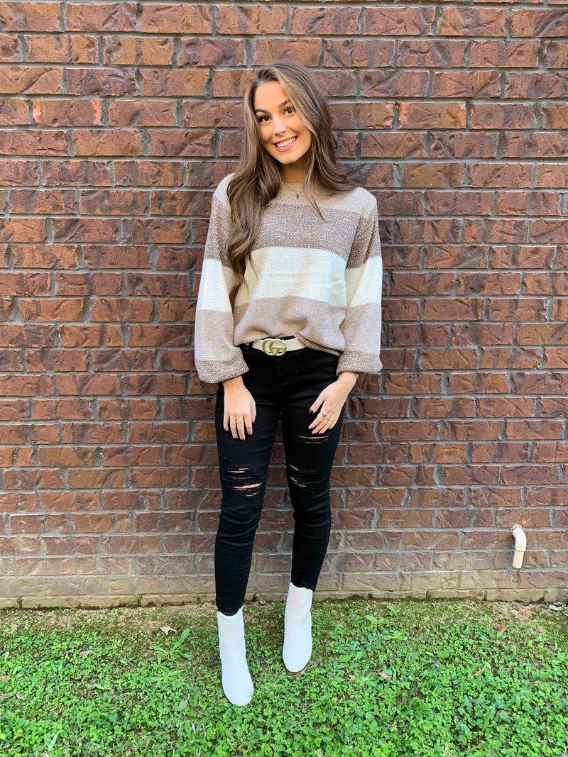 Color Block Popcorn Sweater - Mocha