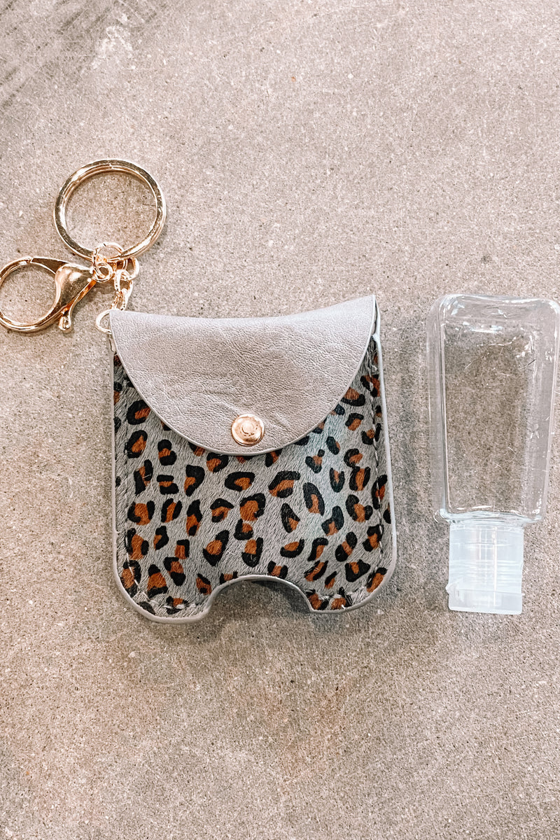 Faux Animal Print Sanitizer Case- Grey Leo