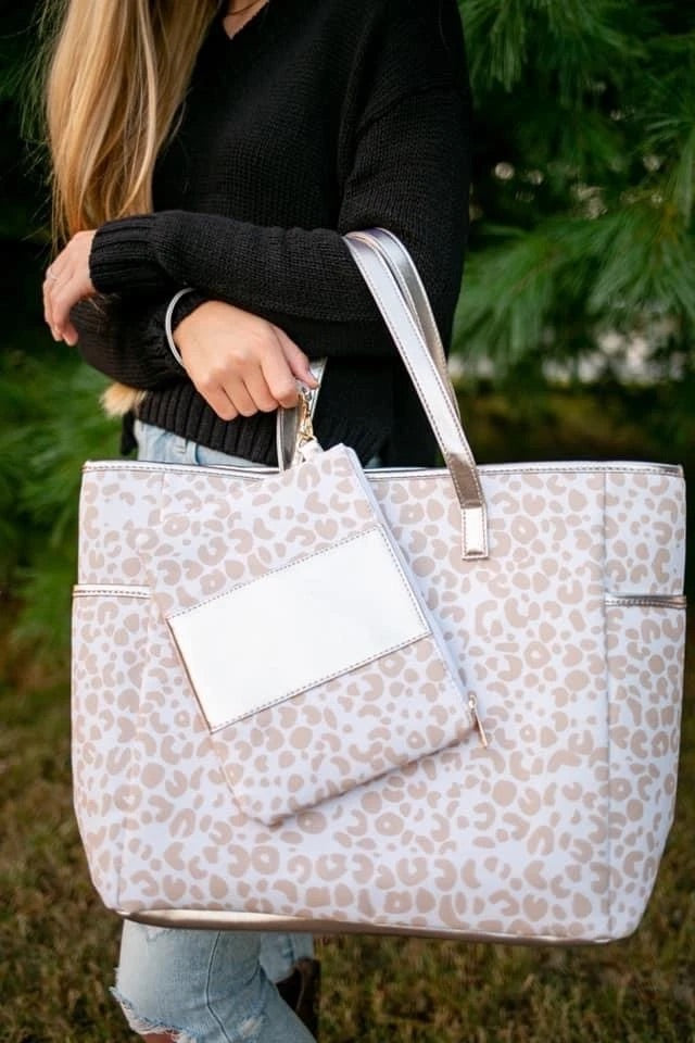 Muted Leo Tote & Wristlet Set