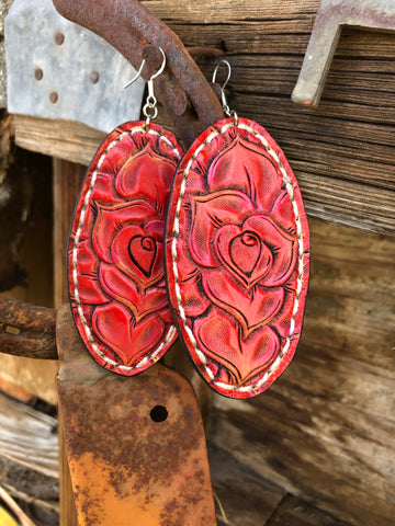 Red on a Rose Earrings