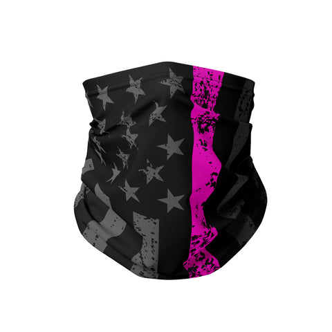 Blackout Flag Breast Cancer Awareness Neck Gaiter