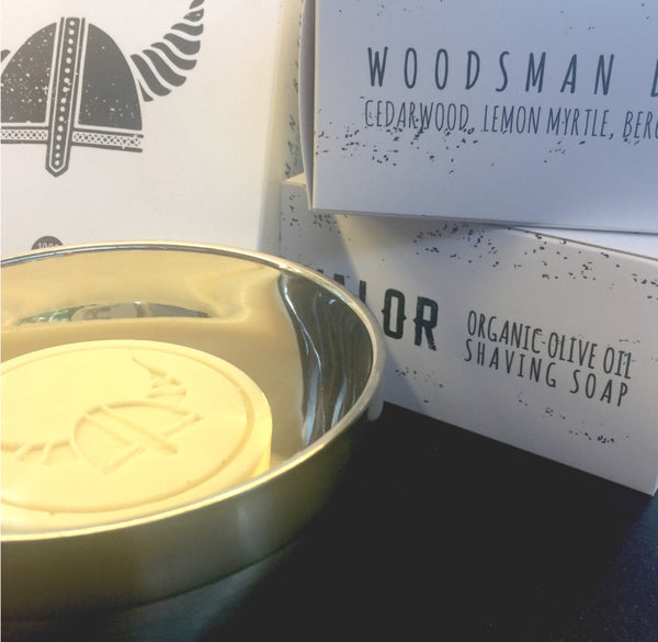 Organic Shaving Soap in Stainless Steel Vessel - Woodsman
