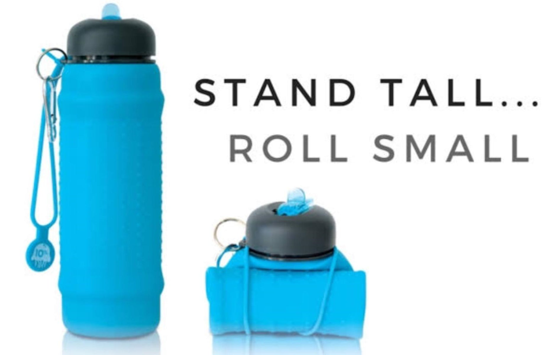 Rolla Bottle Aqua + Black Lid + Aqua Strap