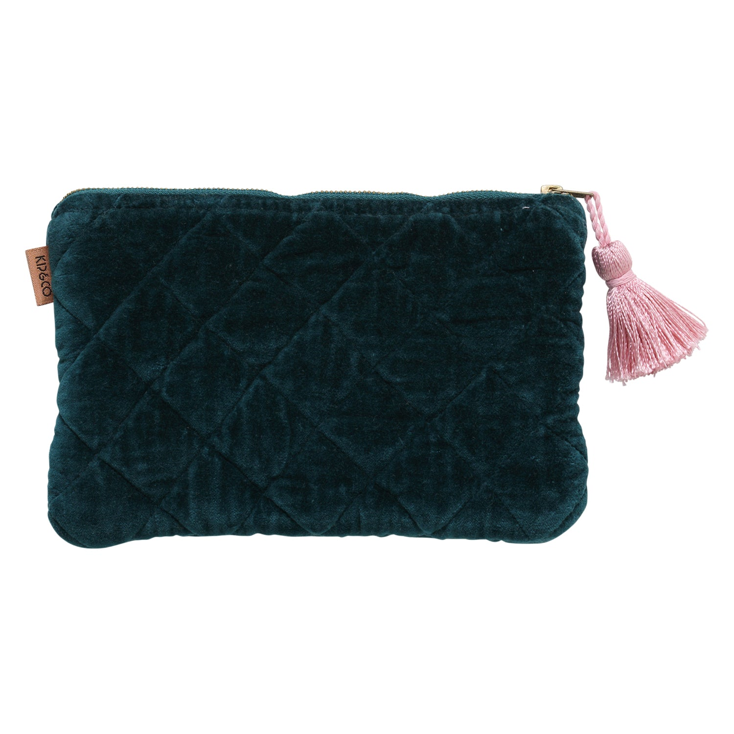 Alpine Green Velvet Quilted Cosmetic Purse