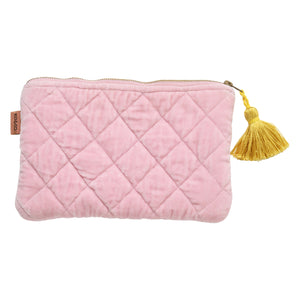 Guava Pink Velvet Quilted Cosmetic Purse