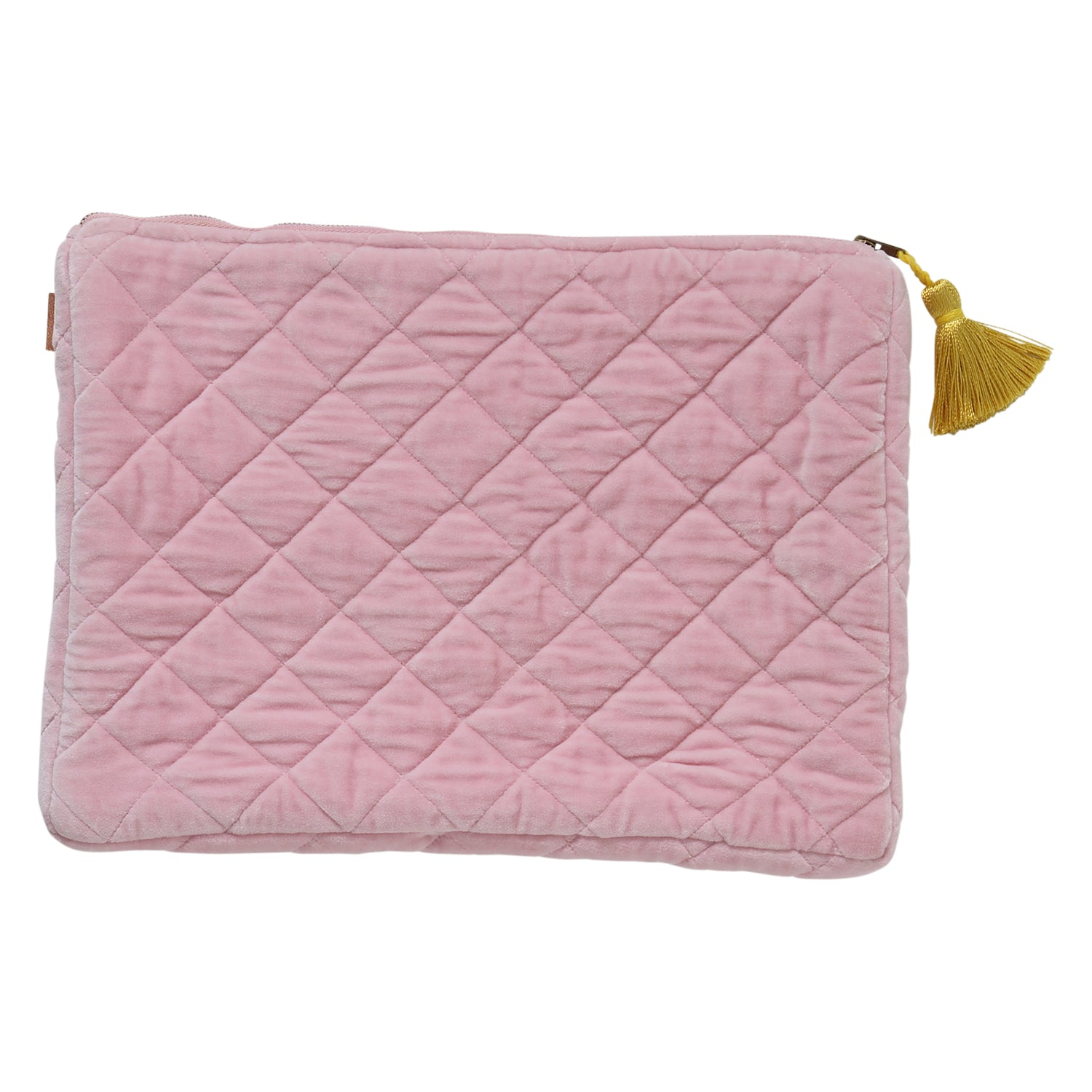 Guava Pink Velvet Quilted Laptop Carry All