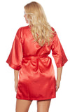 Red  Dreamy Short Satin Kimono Robe Plus Size