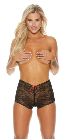 High Waist Lace Crotchless Panty