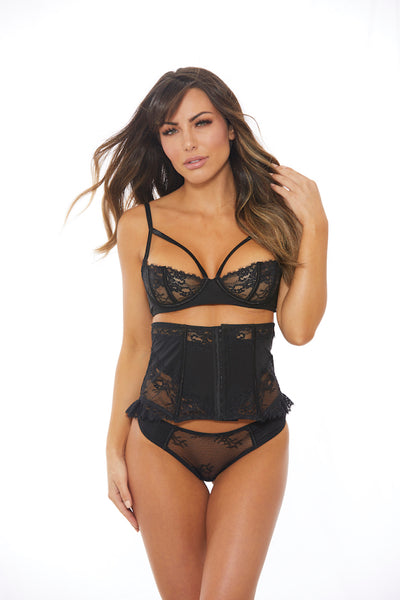 Bare Black Garter Belt Corset