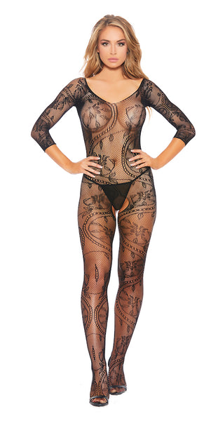 Sheer Full Body Fishnet Bodystocking With Lace Detail