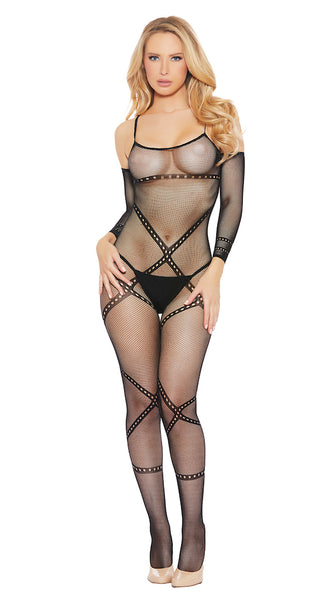 Sheer Crotchless Bodystocking With Lace