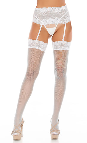White Wide Lace Garter Belt And Fishnet Thigh Highs