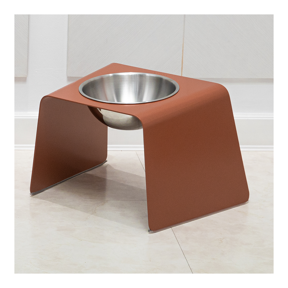 HOWDY HOUNDY Bend Elevated Feeder L - Peach Copper