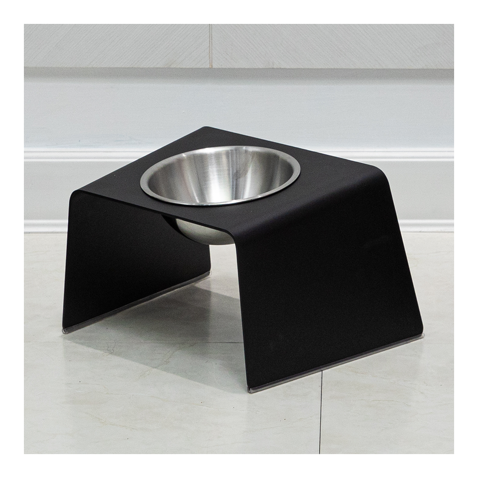 HOWDY HOUNDY Bend Elevated Feeder M - Onyx Black