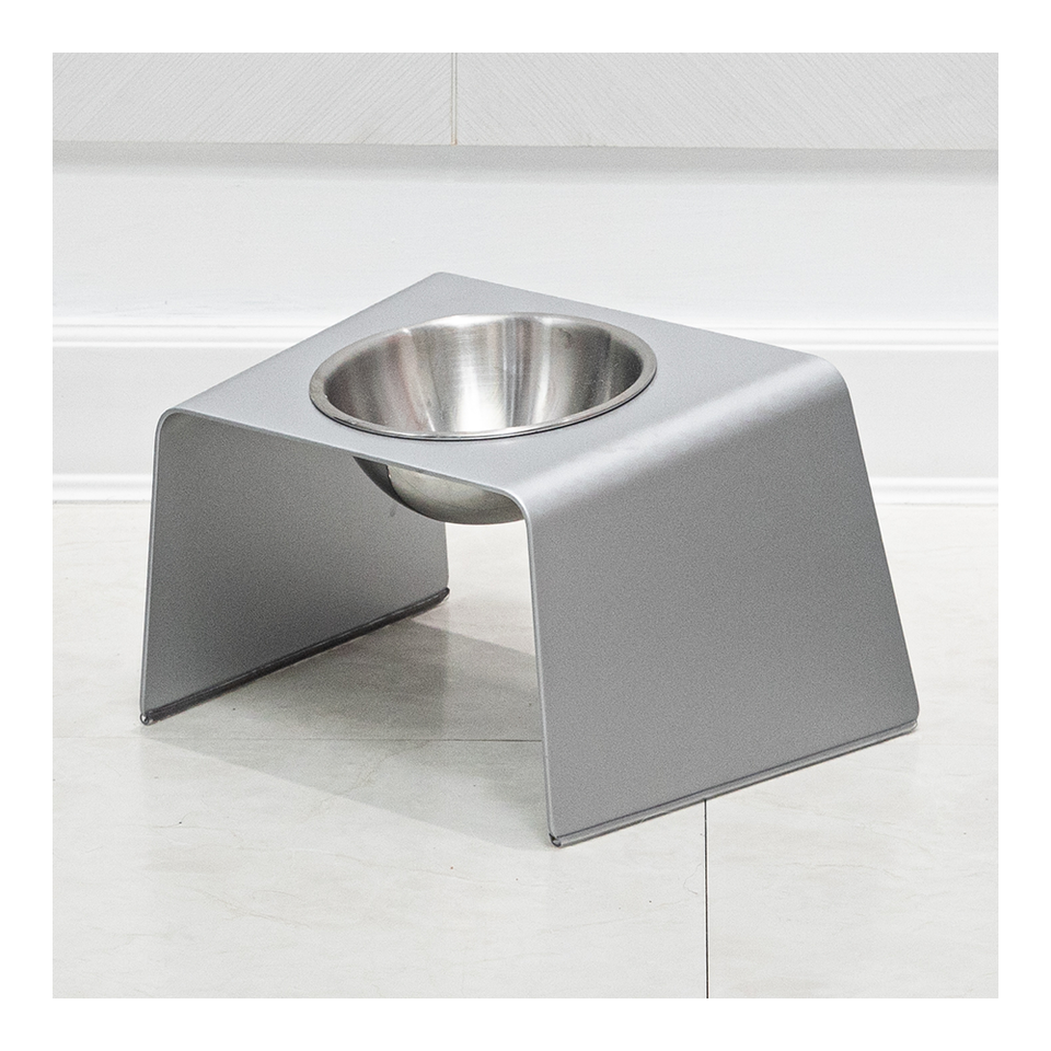 HOWDY HOUNDY Bend Elevated Feeder M - Space Silver