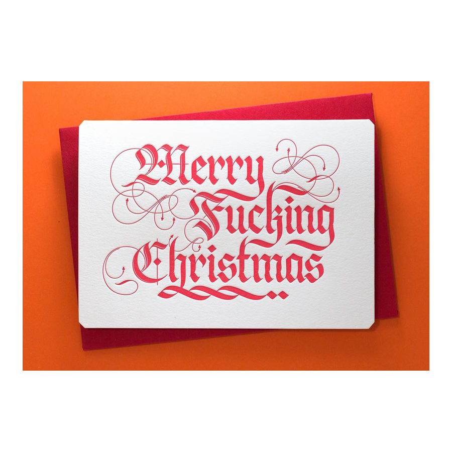 CALLIGRAPHUCK Card - Xmas - Merry F*cking Christmas - Blackletter