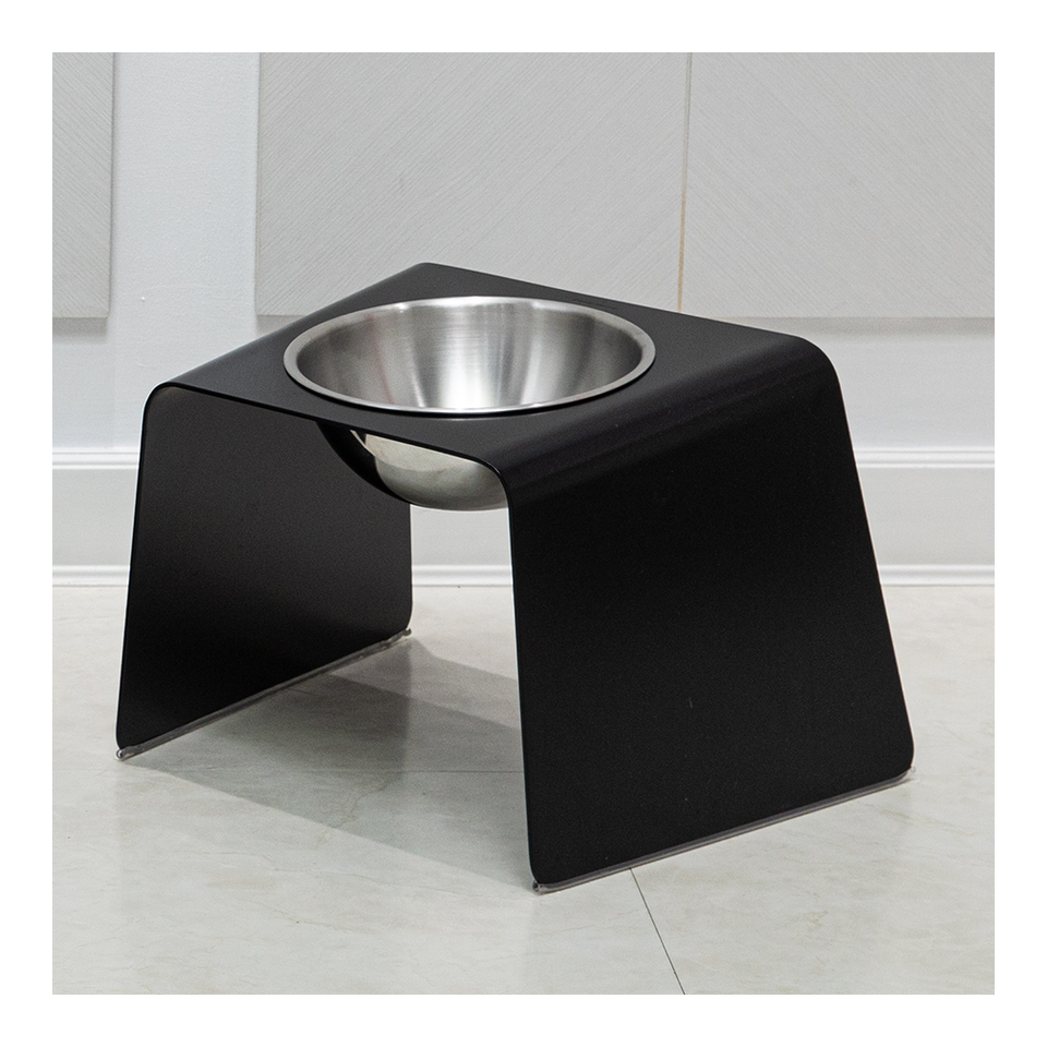 HOWDY HOUNDY Bend Elevated Feeder L - Onyx Black