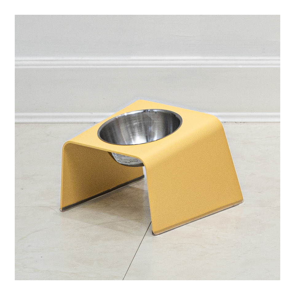 HOWDY HOUNDY Bend Elevated Feeder S - Egg Yellow