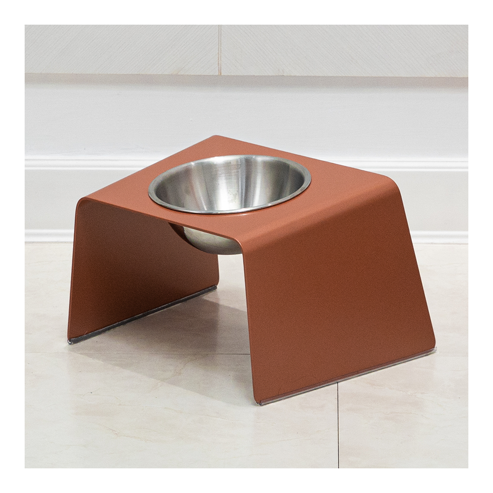 HOWDY HOUNDY Bend Elevated Feeder M - Peach Copper