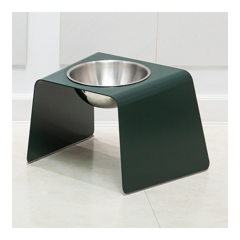 HOWDY HOUNDY Bend Elevated Feeder L - Deep Green