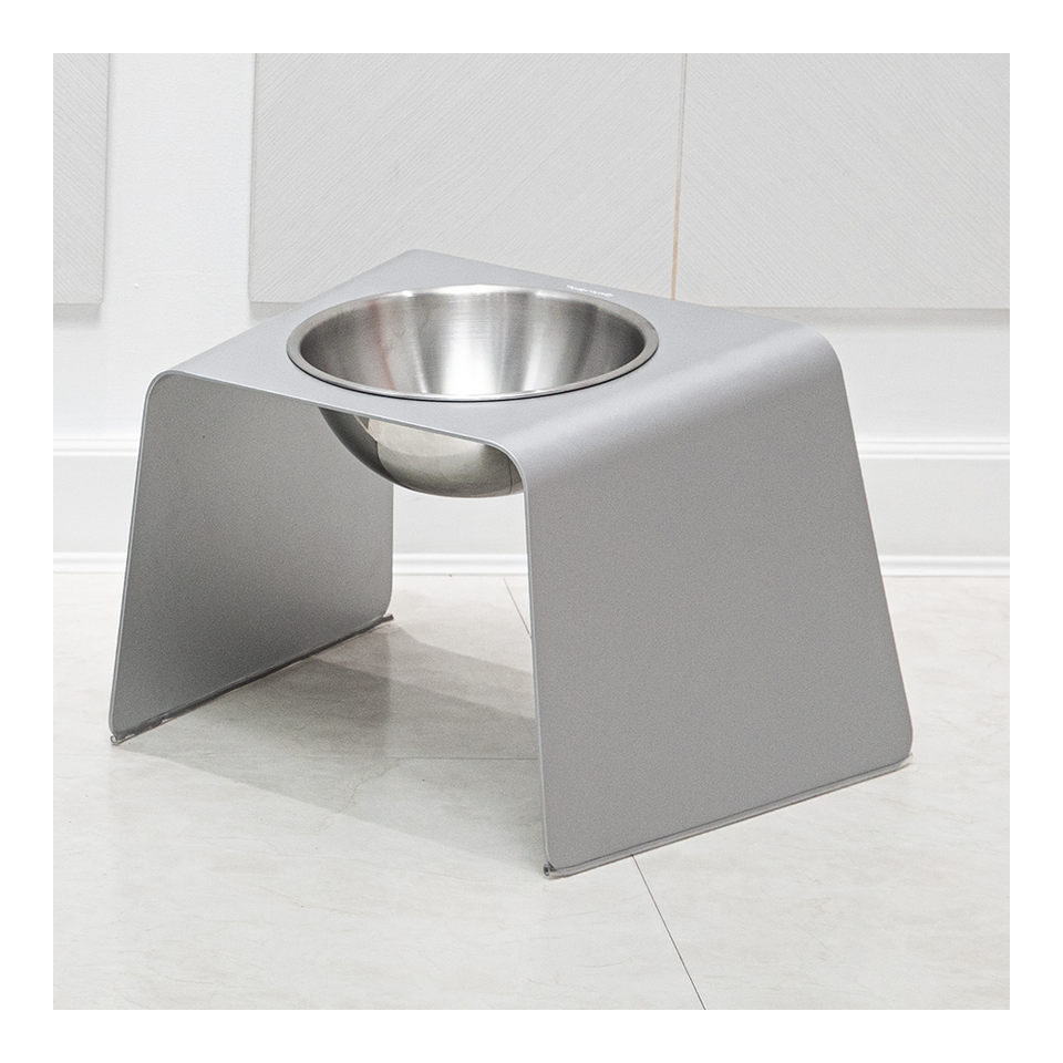 HOWDY HOUNDY Bend Elevated Feeder L - Space Silver