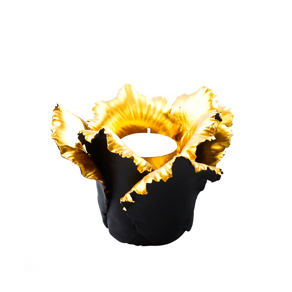 KIDDEE TAMDEE Daffodil Candle Holder - Black Gold | the OBJECT ROOM
