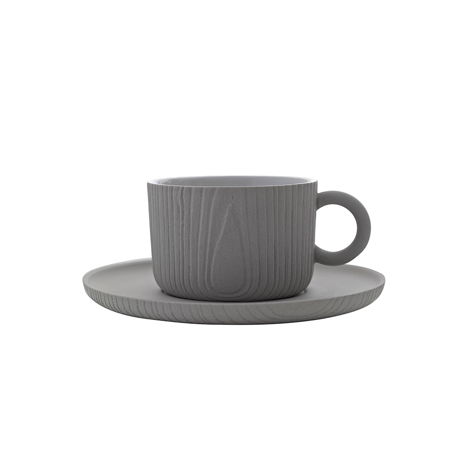 TO MU Cup & Saucer 180ml - Grey