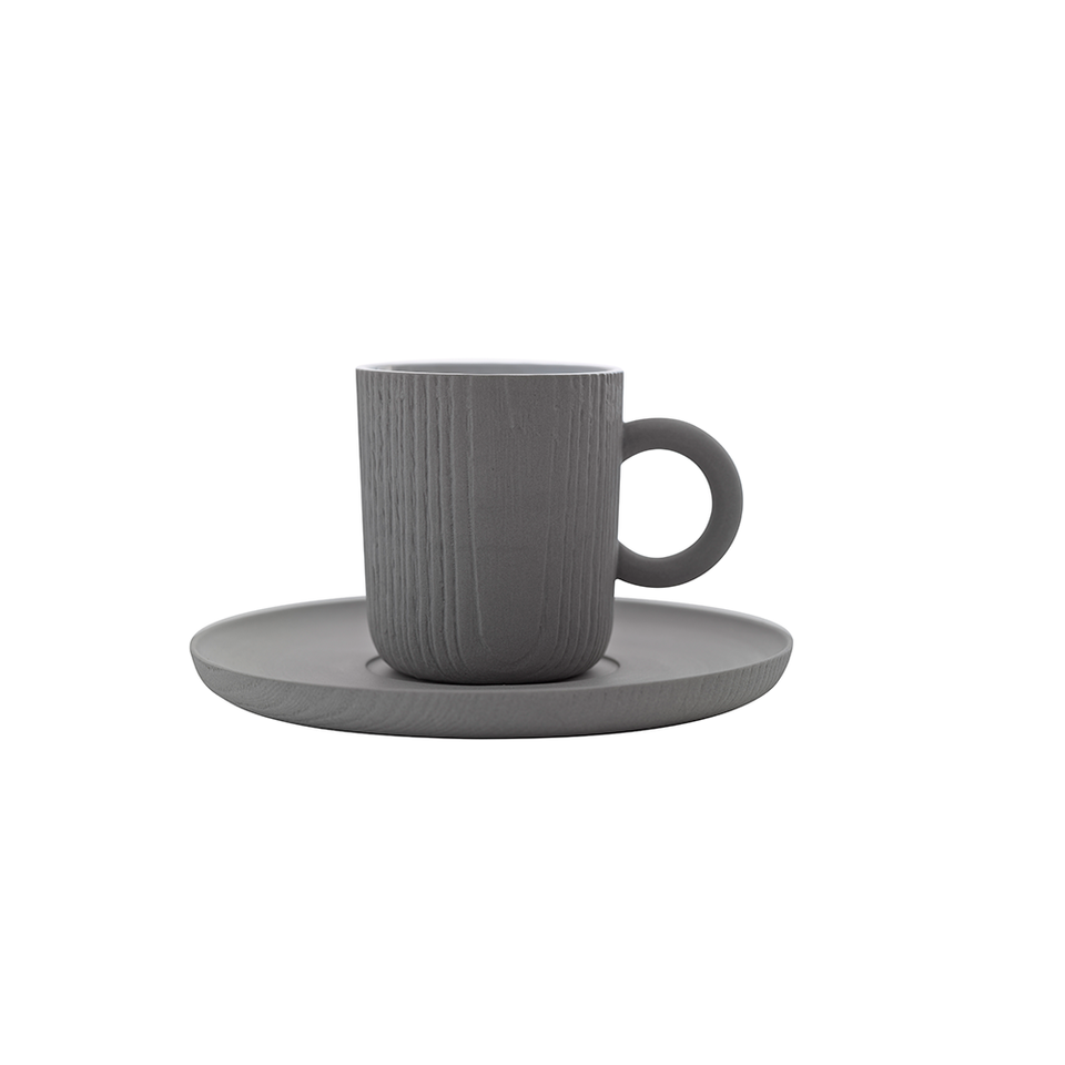 TO MU Espresso Cup & Saucer 80ml - Grey
