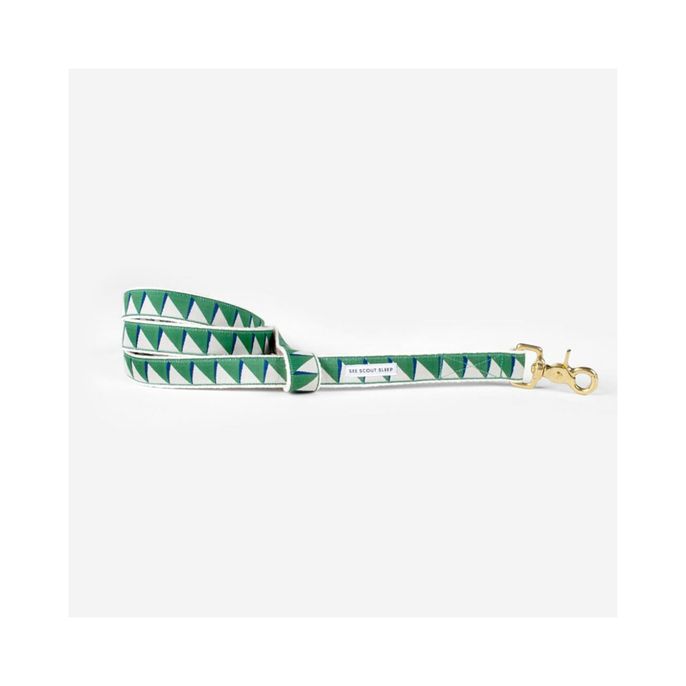 "SEE SCOUT SLEEP Standard Leash 1/2"" Nice Grill - Emerald x Navy x Cream 