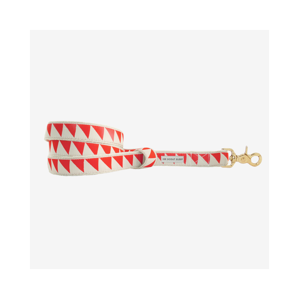 "SEE SCOUT SLEEP Standard Leash 1/2"" Nice Grill - Cream x Vermillion 