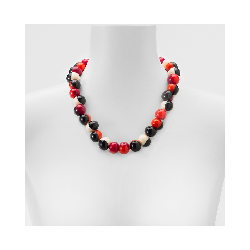 MARINA E SUSANNA SENT Glass Necklace - Macchia Ivory Red Orange | the OBJECT ROOM