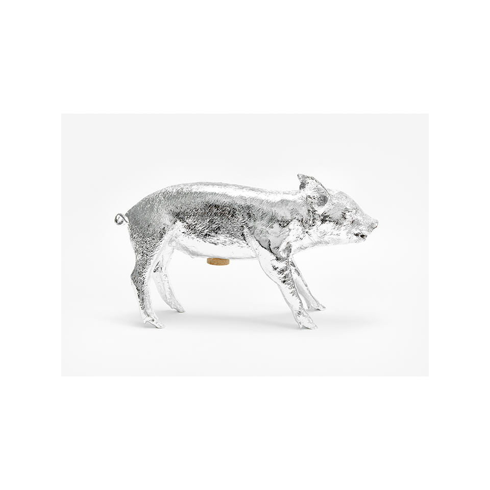 AREAWARE Bank in the Form of a Pig - Silver Chrome | the OBJECT ROOM