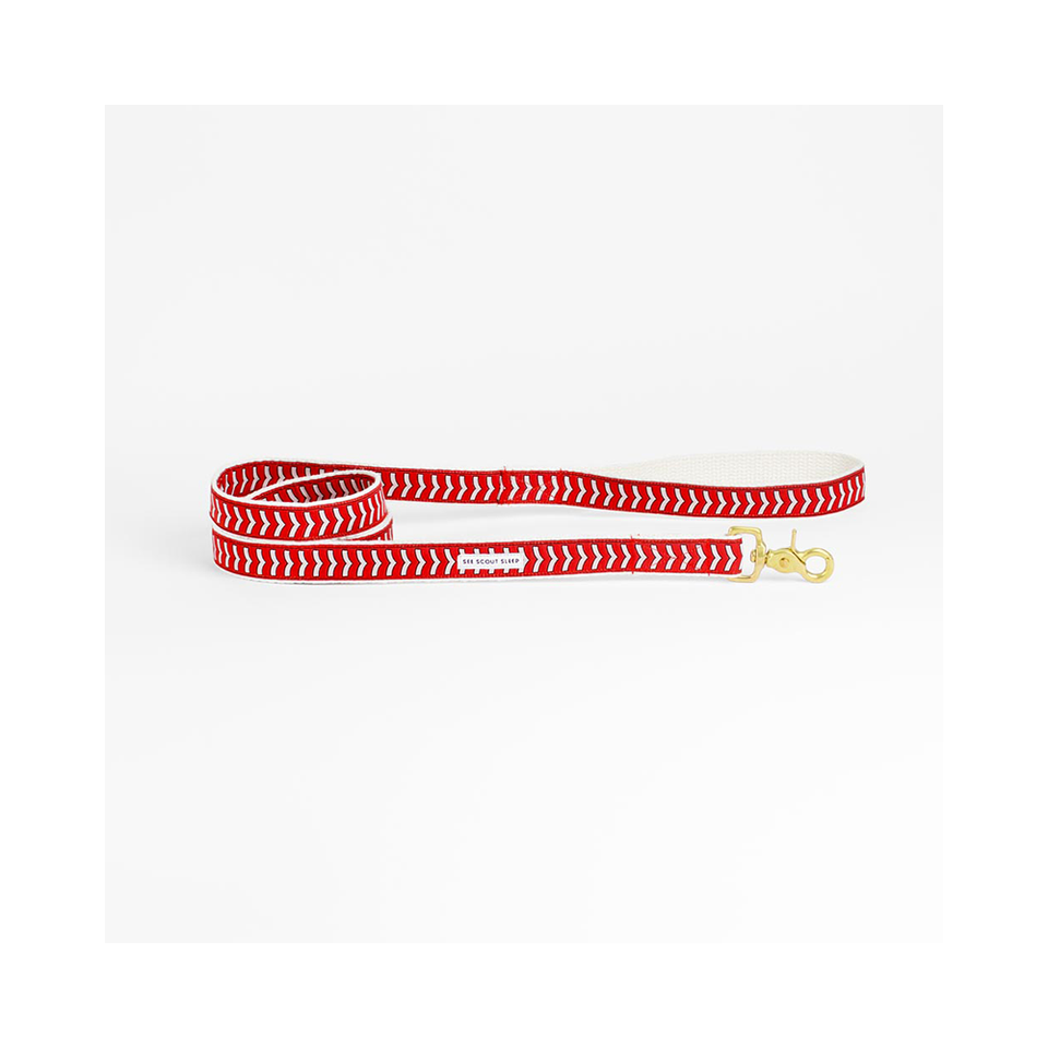 "SEE SCOUT SLEEP Standard Leash 1/2"" Chef l'Bark - Fire Red x Cream x Black 