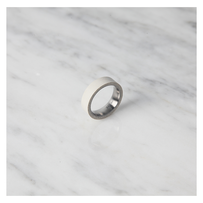 22 DESIGN STUDIO Concrete Ring - Tube Thin White | the OBJECT ROOM