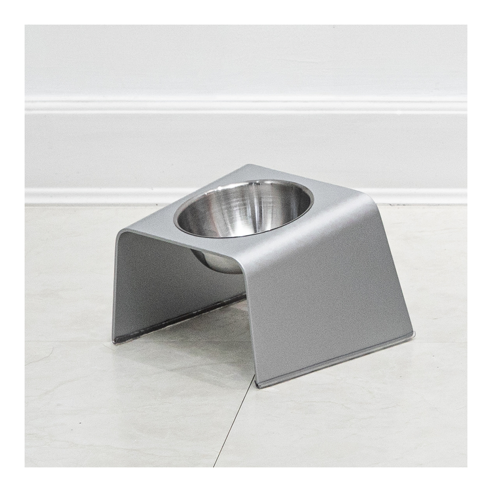 HOWDY HOUNDY Bend Elevated Feeder S - Space Silver