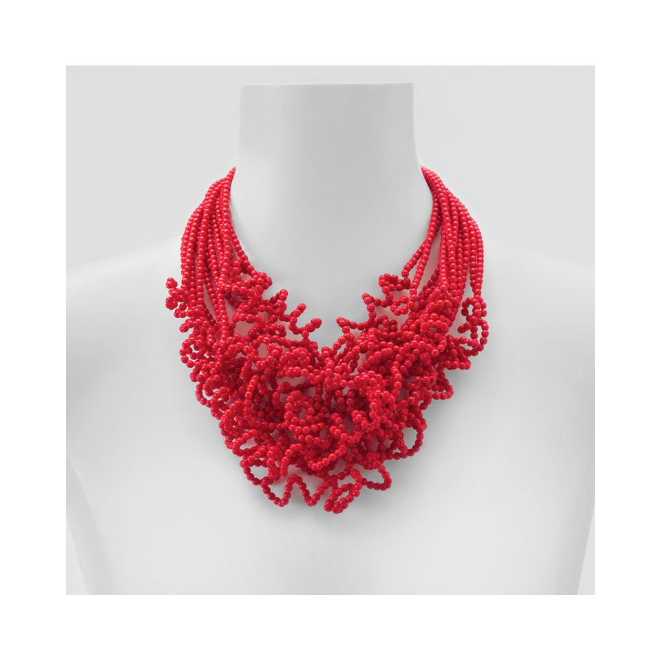 MARINA E SUSANNA SENT Glass Necklace - Riccia 12 Strand Red