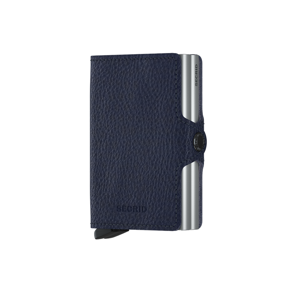 SECRID Twinwallet Leather - Veg Navy-Silver | the OBJECT ROOM