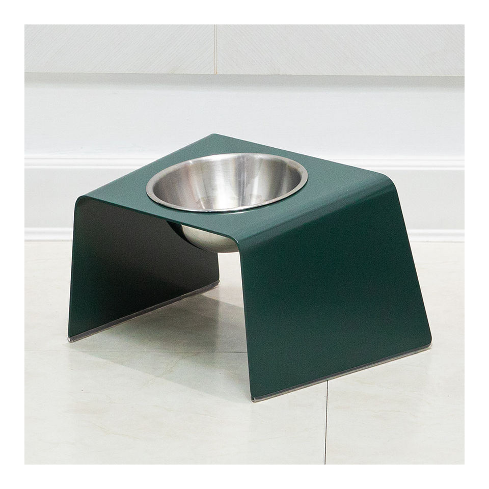 HOWDY HOUNDY Bend Elevated Feeder M - Deep Green
