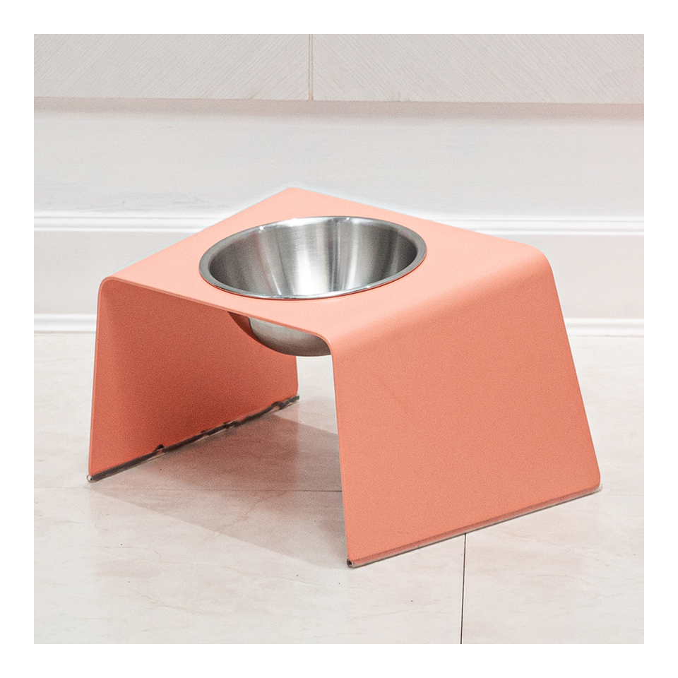 HOWDY HOUNDY Bend Elevated Feeder M - Peach Pink