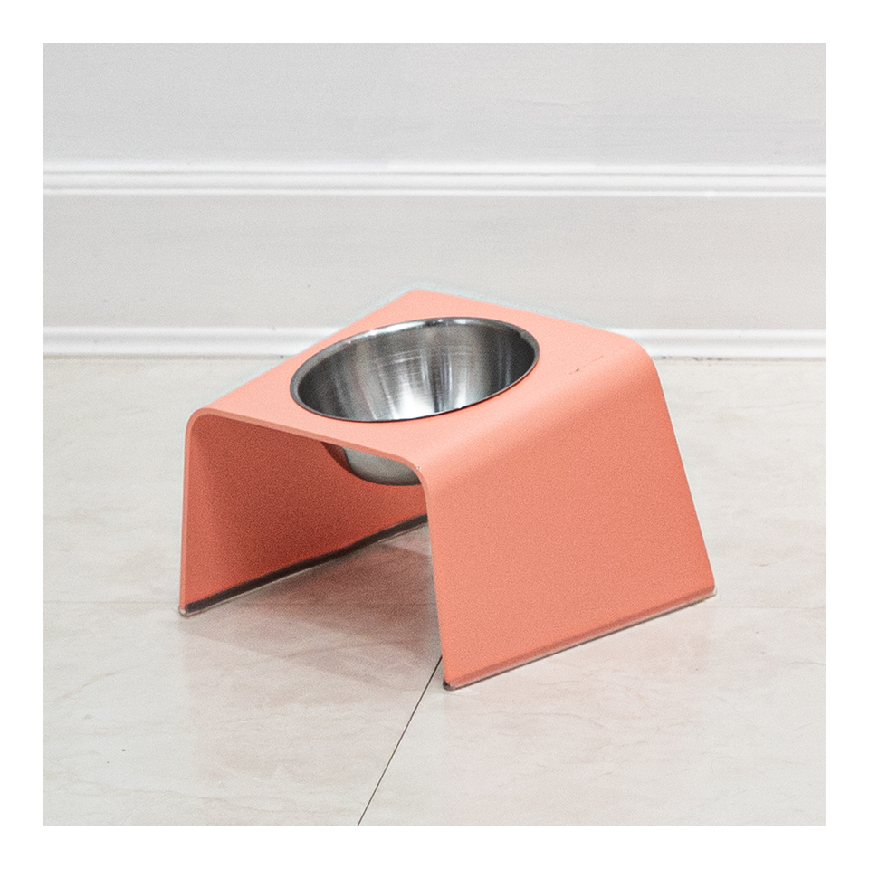 HOWDY HOUNDY Bend Elevated Feeder S - Peach Pink