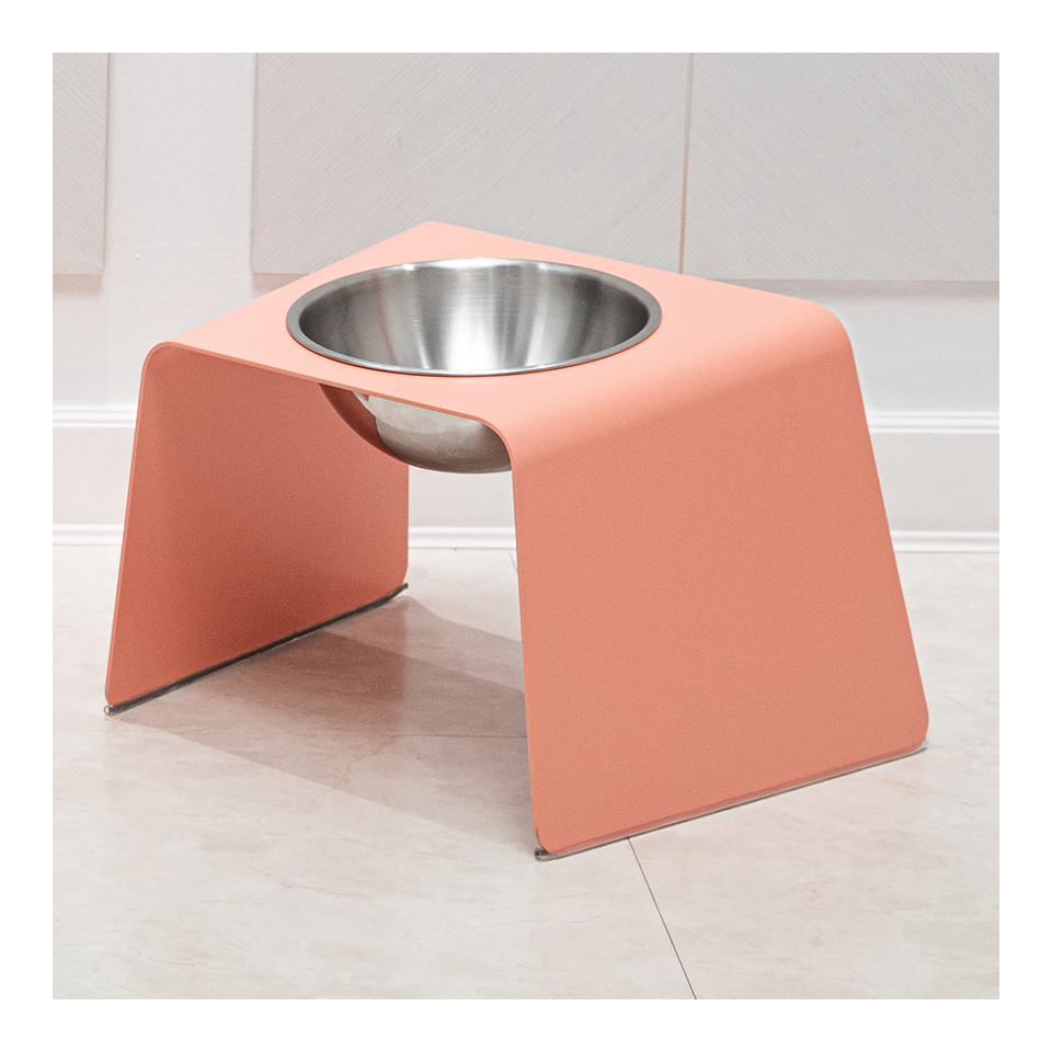 HOWDY HOUNDY Bend Elevated Feeder L - Peach Pink