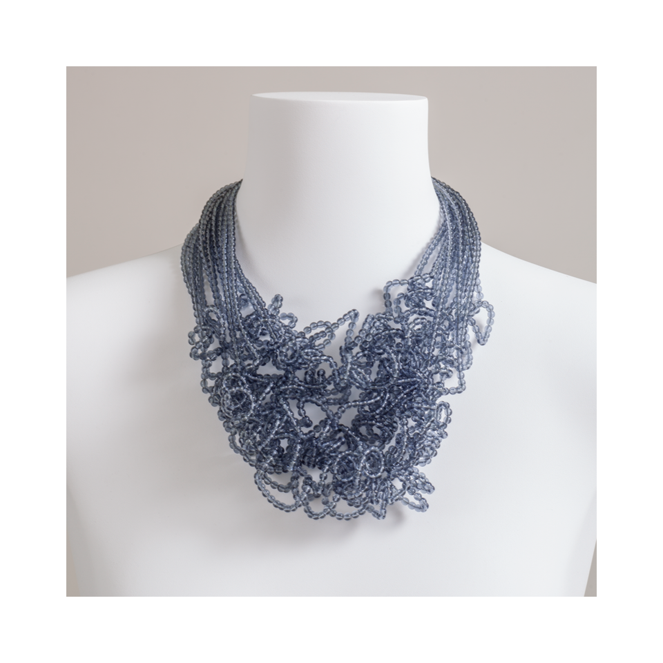 MARINA E SUSANNA SENT Glass Necklace - Riccia 12 Strand Lead Grey