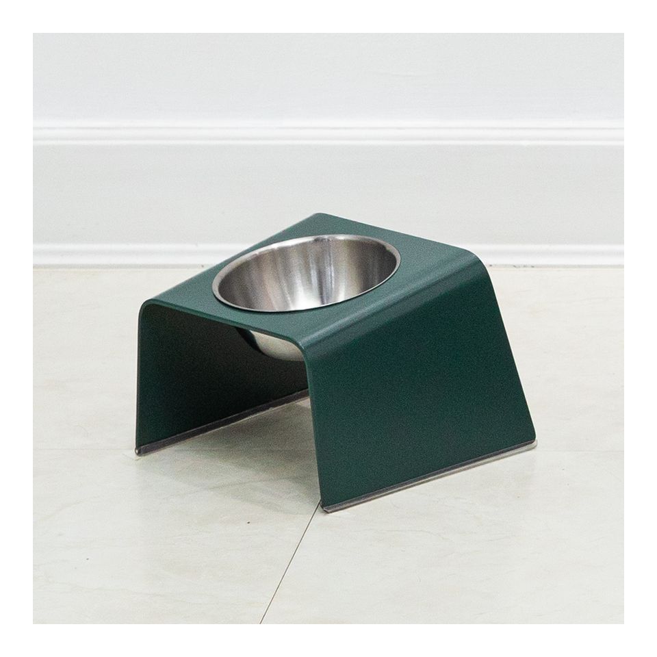 HOWDY HOUNDY Bend Elevated Feeder S - Deep Green