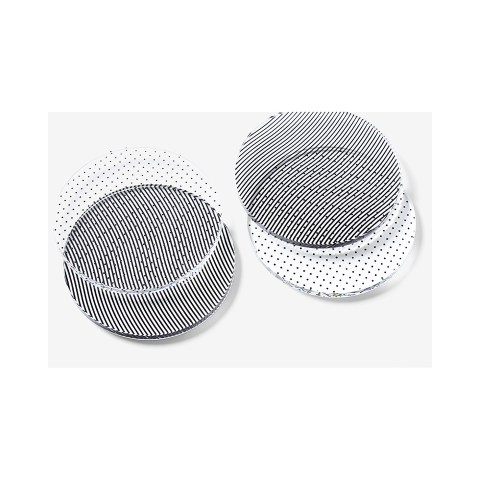 AREAWARE Glass Grid Coasters - Dot/Wave