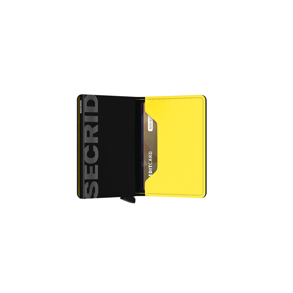 SECRID Slimwallet Leather - Matte Black & Yellow